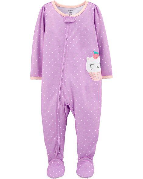 Pyjama 1 pièce à pieds en polyester chaton et petits gâteaux