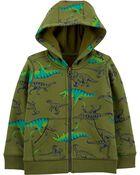 Dinosaur Zip-Up Fleece-Lined Hoodie, , hi-res