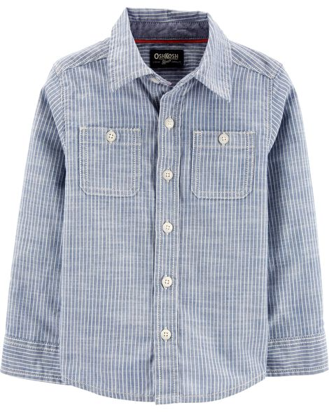 Hickory Striped Button-Front Shirt