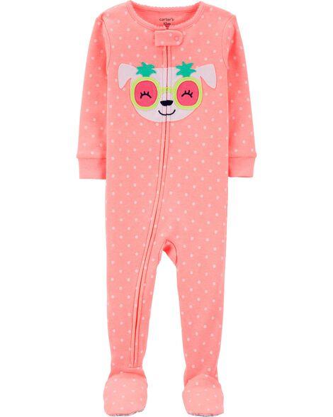 1-Piece Neon Dog Snug Fit Cotton Footie PJs