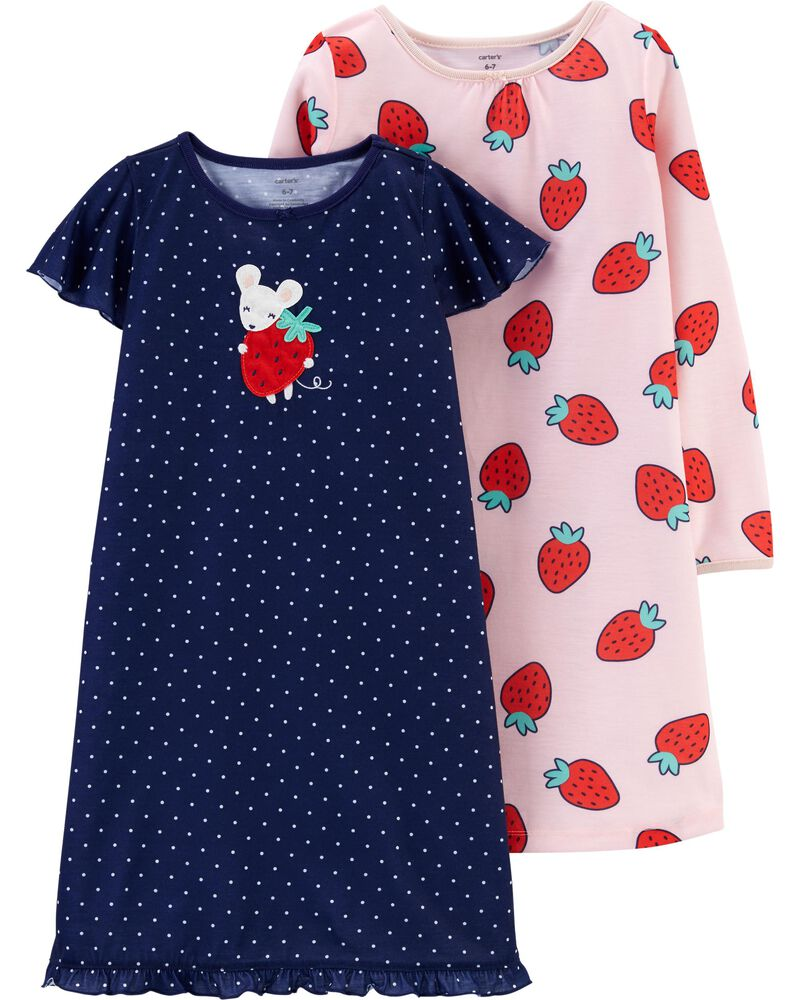 2-Pack Strawberry Nightgowns, , hi-res