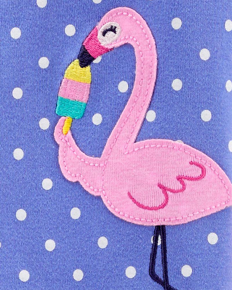 Pyjama 1 pièce à pieds en coton ajusté à flamant, , hi-res