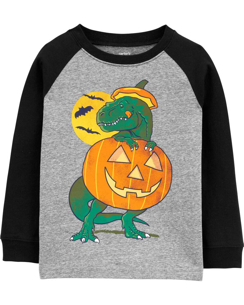 T-shirt en jersey à manches raglan dinosaure d'Halloween, , hi-res