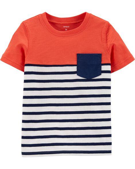 Striped Pocket Slub Jersey Tee
