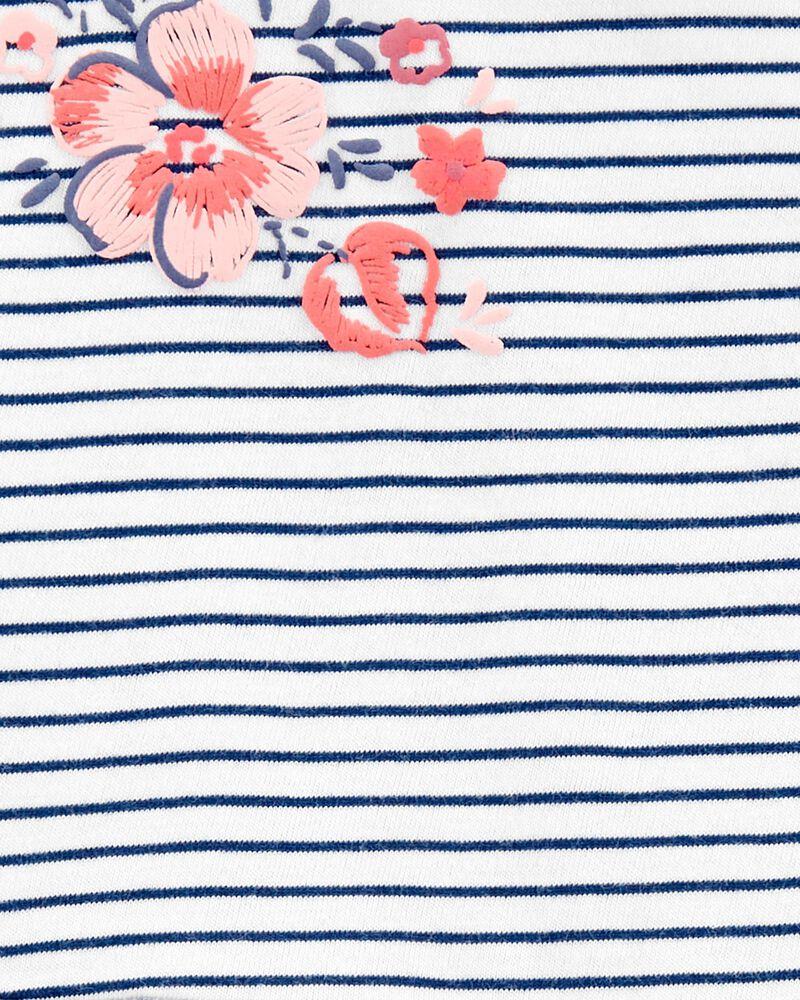 Floral Striped Peplum Top, , hi-res