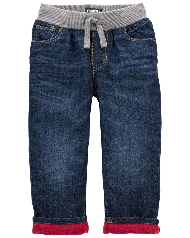 Microfleece-Lined Jeans - Yeti Blue Wash, , hi-res