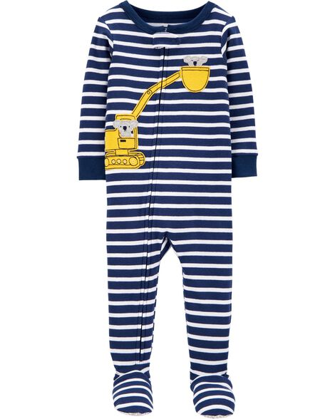 1-Piece Construction Snug Fit Cotton Footie PJs