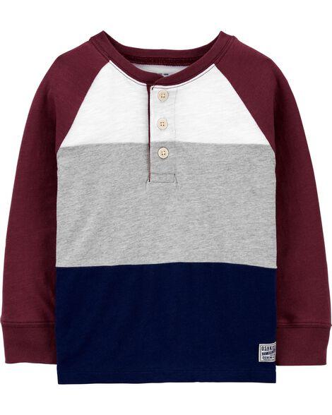 Haut henley en jersey à couleurs contrastantes