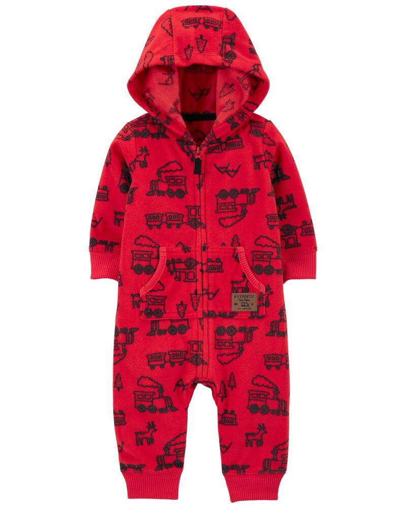 Zip-Up Hooded Fleece Jumpsuit, , hi-res