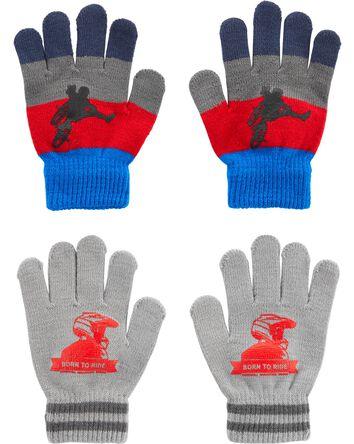 2 paires de gants BMX à paume agrip...