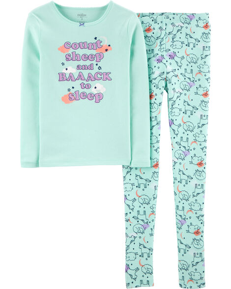 2-Piece Snug Fit Counting Sheep Cotton PJs