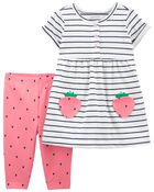 2-Piece Strawberry Dress & Legging Set, , hi-res