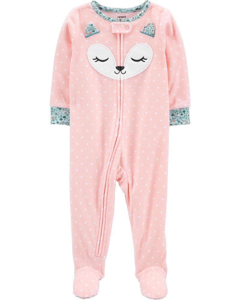 Pyjama 1 pièce à pieds en molleton motif renard, , hi-res