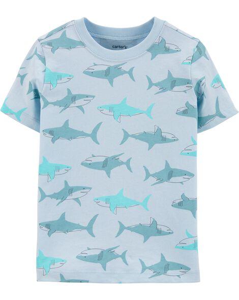 T-shirt en jersey à imprimé requin