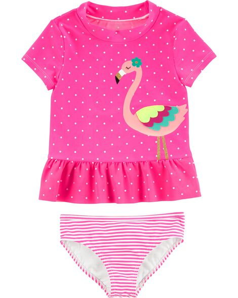 2-Piece Flamingo UV Swim Shirt Set
