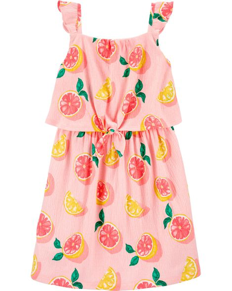 Grapefruit Crinkle Jersey Dress