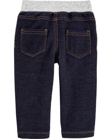 Pull-On Knit Denim Pants
