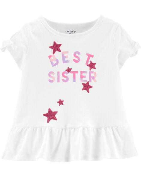 Glitter Best Sister Peplum Top