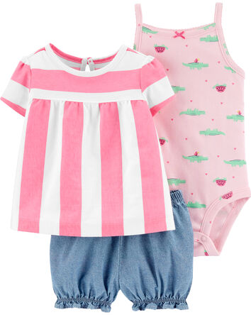 3-Piece Striped Little Short Set