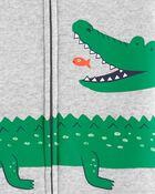 Pyjama barboteuse 1 pièce en coton ajusté à motif d'alligator, , hi-res