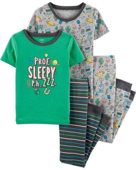 Pyjams 4 pièces en coton ajusté science