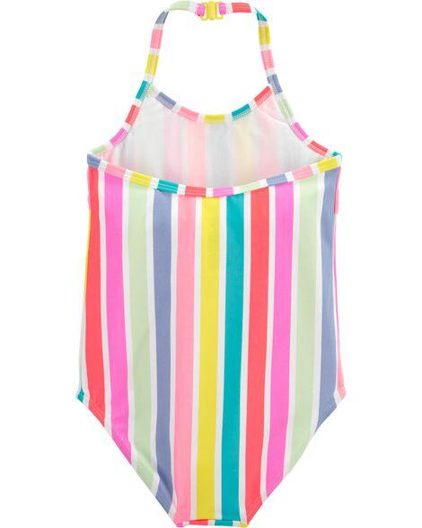 Rainbow Stripe One Piece Swimsuit