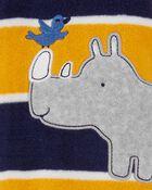 Grenouillère en molleton à boutons-pression rhinocéros, , hi-res