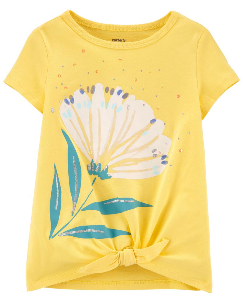 T-shirt fleuri en jersey, , hi-res