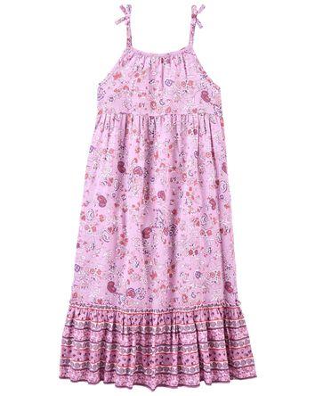 Paisley Floral Linen Maxi Dress