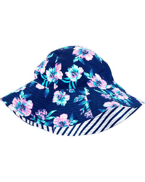 Chapeau cloche réversible fleuri