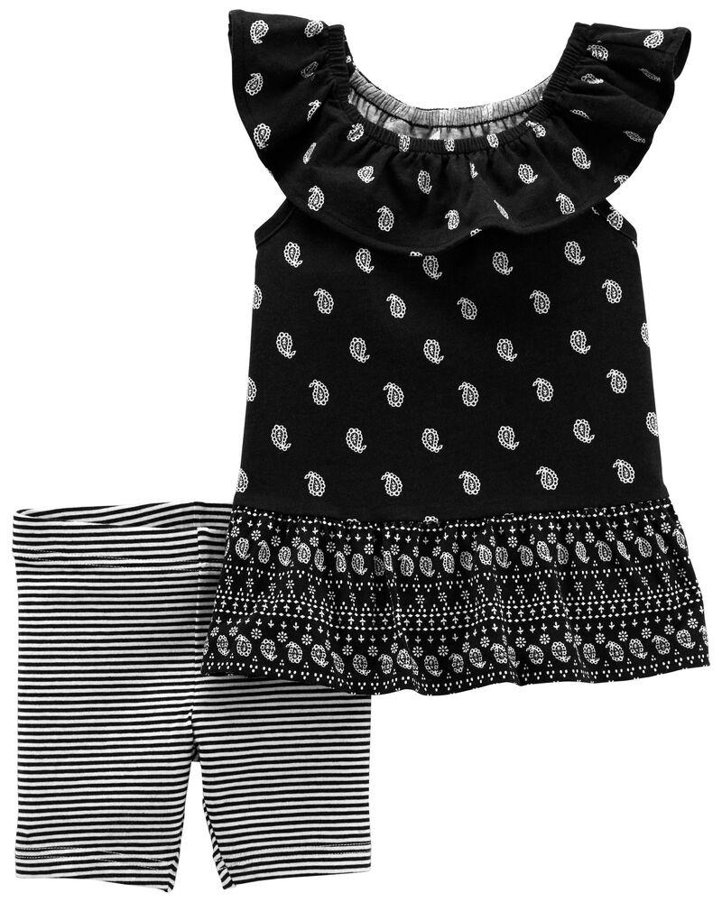 Ensemble 2 pièces t-shirt en jersey à dessin cachemire et short extensible , , hi-res