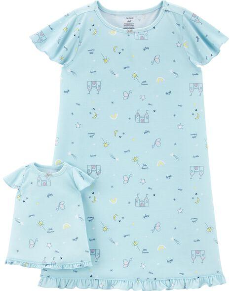 Emballage de 2 robes de nuit en polyester pour elle et sa poupée