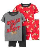 4-Piece Ninja 100% Snug Fit Cotton PJs, , hi-res