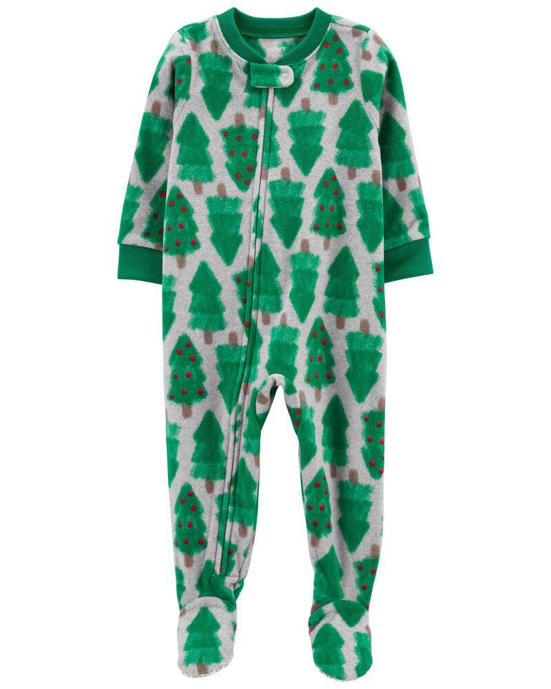 Pyjama 1 pièce en molleton à pieds motif des Fêtes , , hi-res