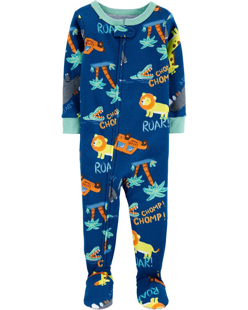 1-Piece Safari Snug Fit Cotton Footie PJs, , hi-res