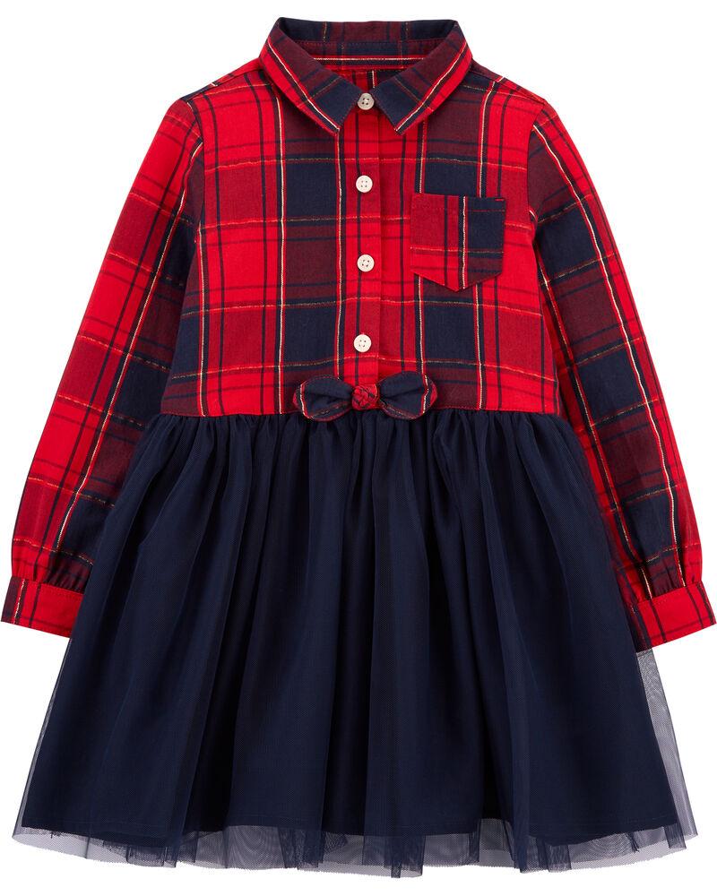 Sparkle Plaid & Tulle Dress, , hi-res
