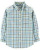 Plaid Button-Front Poplin Shirt, , hi-res