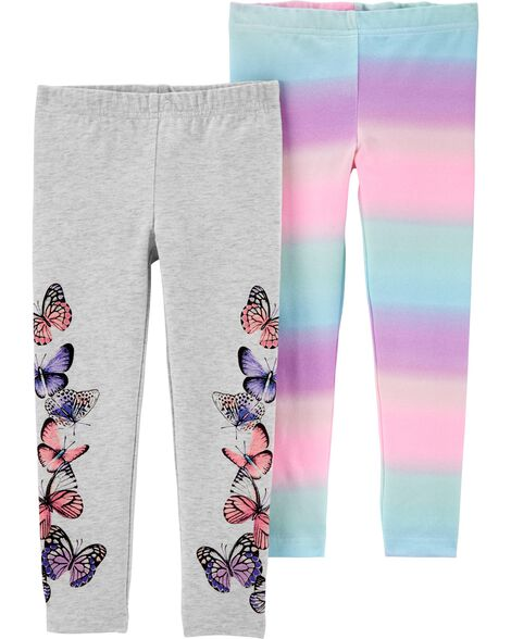 2-Pack Rainbow Butterfly Leggings