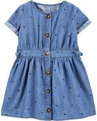 Indigo Heart Print Shirt Dress, , hi-res