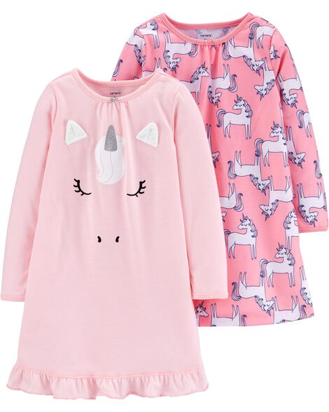 2-Pack Unicorn Poly Nightgowns
