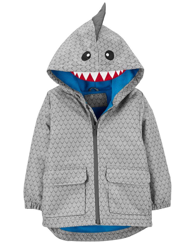 Fleece-Lined Shark Rain Jacket, , hi-res