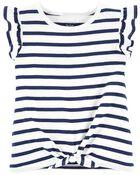 Striped Tie-Front Tee, , hi-res
