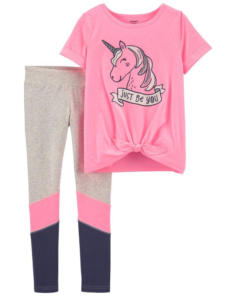 Ensemble 2 pièces t-shirt en jersey à licorne et legging, , hi-res