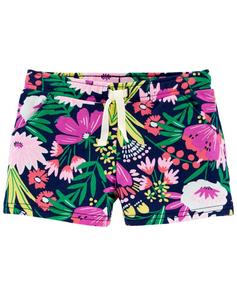 Short à enfiler en jersey bouclette à motif tropical, , hi-res
