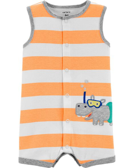Hippo Snap-Up Romper