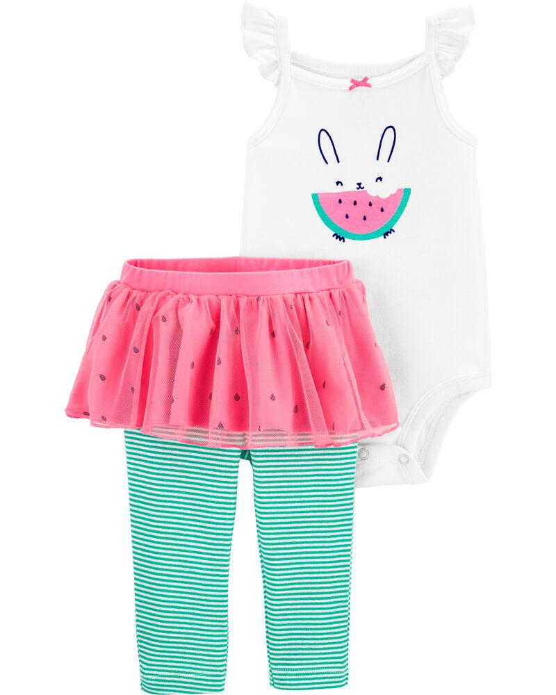 3-Piece Watermelon Bodysuit & Tutu Pant Set, , hi-res