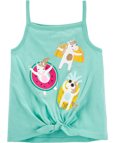 Fruity Unicorns Tie-Front Jersey Tank
