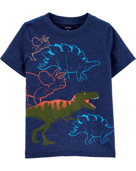 T-shirt en jersey chiné à motif de dinosaure