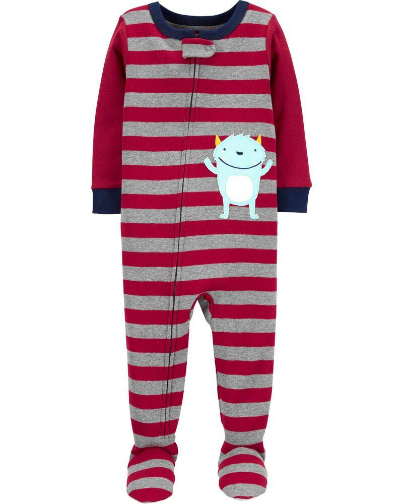 1-Piece Monster Snug Fit Cotton Footie PJs, , hi-res