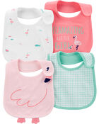 4-Pack Flamingo Teething Bibs, , hi-res